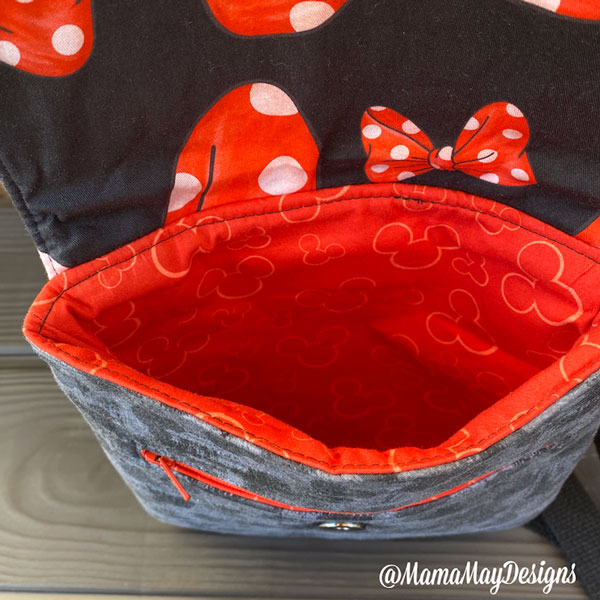 Inside the Minnie Mouse-themed Polly Cross Body Pouch - Andrie Designs