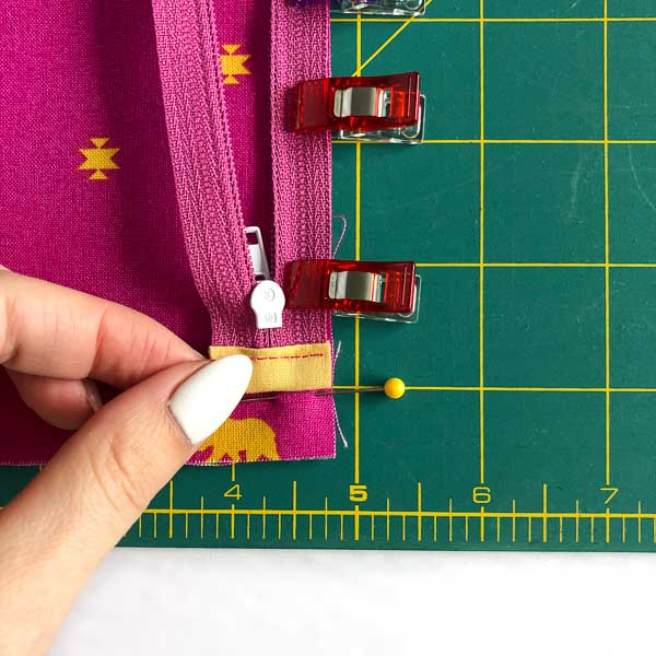 Tab placement on outer fabric - Layla Coin Pouch - Andrie Designs