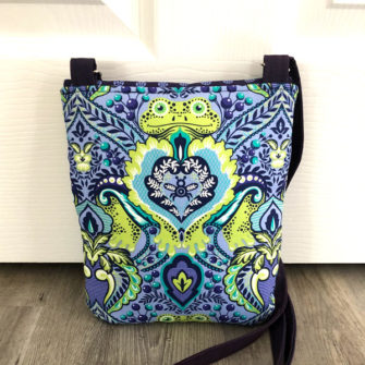 Back of the blues and greens Polly Cross Body Pouch - Andrie Designs