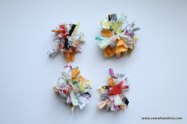 Fabric PomPoms - Scrap Busting Projects - Andrie Designs