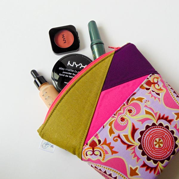 Make up Bag - Zip Top Stand Up Clutch - Andrie Designs