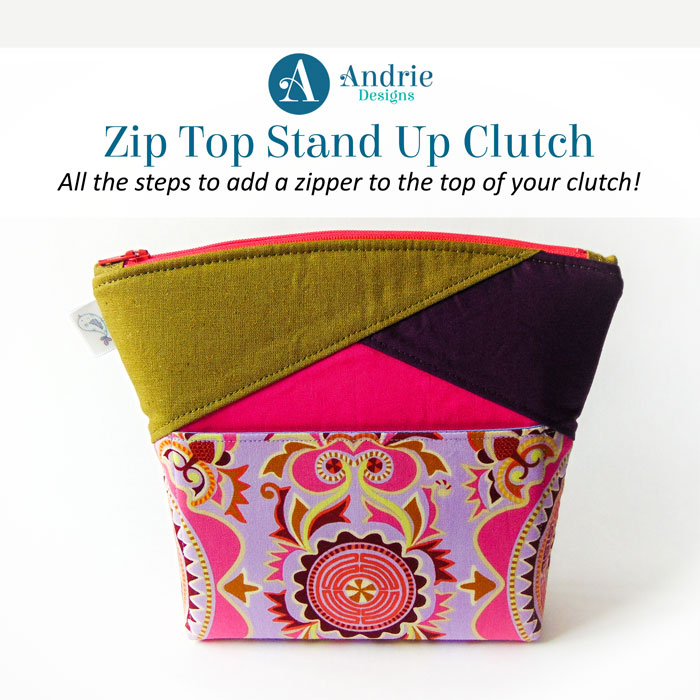 Zip Top Stand Up Clutch - Andrie Designs