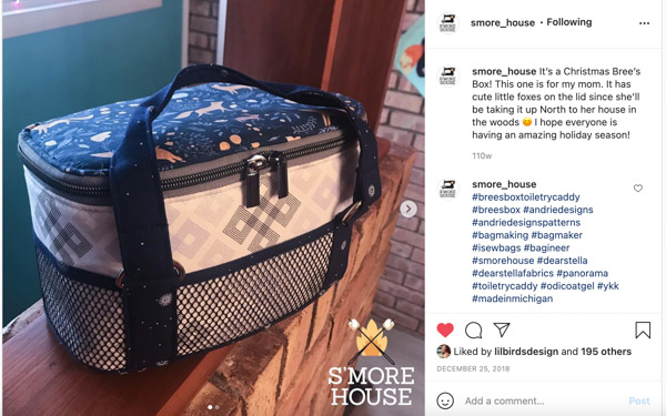 Jane on Instagram - Customer Creations - Toiletry Bag - Andrie Designs