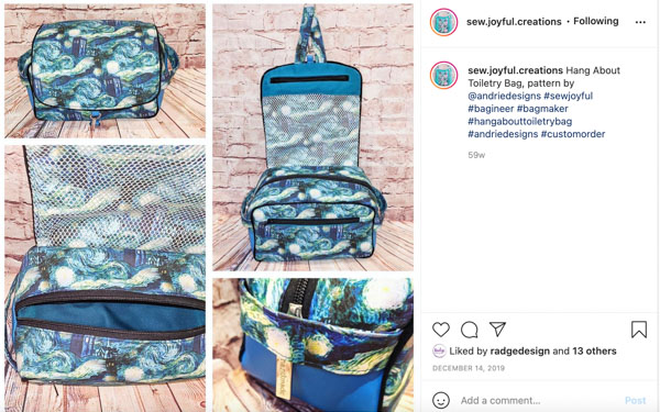 Sew Joyful on Instagram -Customer Creations - Toiletry Bag - Andrie Designs