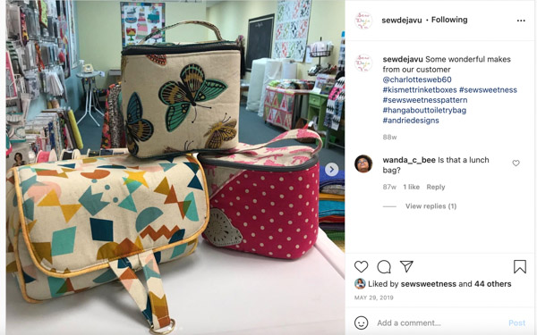 Sewdejavu on Instagram - Customer Creations - Toiletry Bag - Andrie Designs