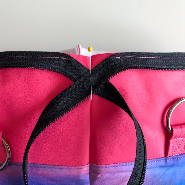 Zipper pinned in place - Zippered Top Classic Market Tote - Andrie Designs