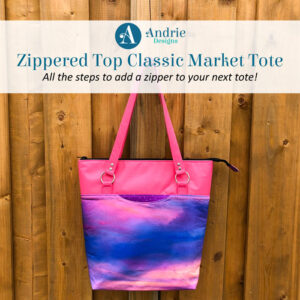 Zippered Top Classic Market Tote - Andrie Designs