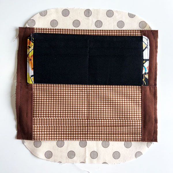 Card slots basted to lining - Cleo Gets Extra Card Slots - Andrie Designs