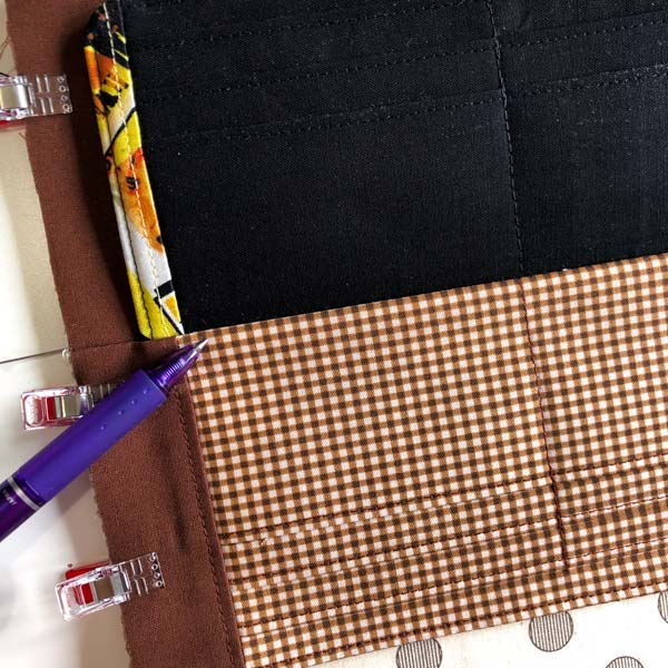 Top stitch below middle slots - Cleo Gets Extra Card Slots - Andrie Designs