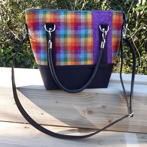 Front of Alison's Harris Tweed Classic Carryall Handbag - Customer Creations - Andrie Designs
