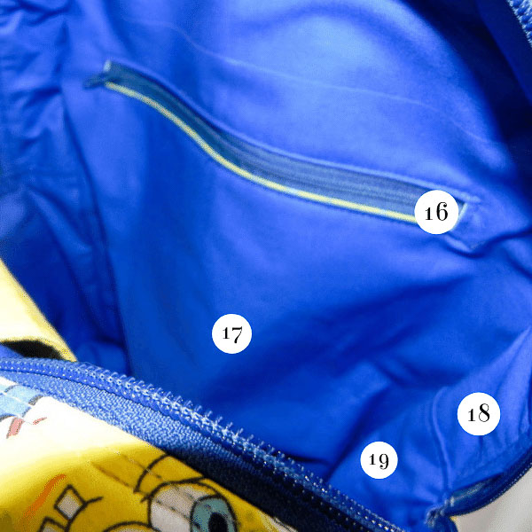 Inside of bag zipper - Adventure Time Backpack - What Goes Where? - Andrie Designs