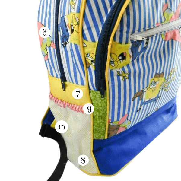 Side of bag pieces - Adventure Time Backpack - What Goes Where? - Andrie Designs